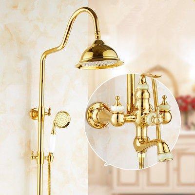 Lvsede badkamer waterkraan design keukenkraan lage druk handheld-pak met gouden riem voor de douche H0352