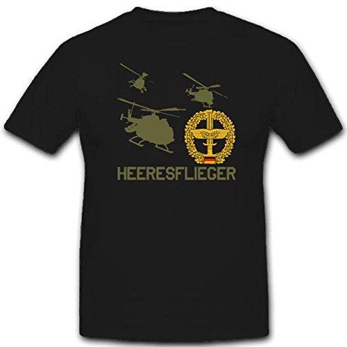 Heeresflieger Hubschrauber Bundeswehr Abzeichen Wappen Emblem Flugzeug - T Shirt #3568, Farbe:Schwarz, Größe:Herren XXL