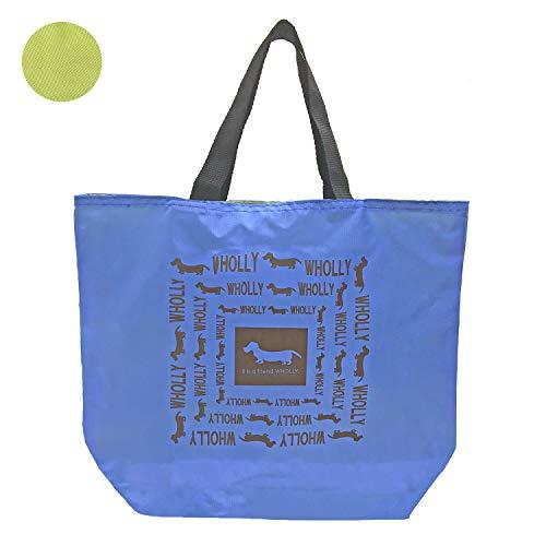 優美社 トートバッグ 犬柄 ブルー 約縦31×横29×マチ10cm WHOLLY リバーシブル エコバッグ 3L08-01