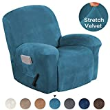 Turquoize Stretch Recliner Covers Stretch Recliner Slipcovers Velvet Recliner Chair Cover for Large Recliner Furniture Protector with Elastic Bottom 1 Piece with Side Pocket (Recliner, Peacock Blue)