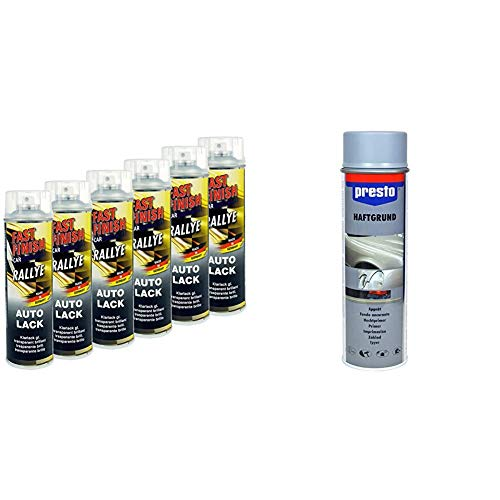 Motip Dupli 430251 Fast Finish Lackspray, Klarlack Glänzend, 6 x 500 ml & Presto 428917 Rallye-Spray, 500 ml, Haftgrund Grau
