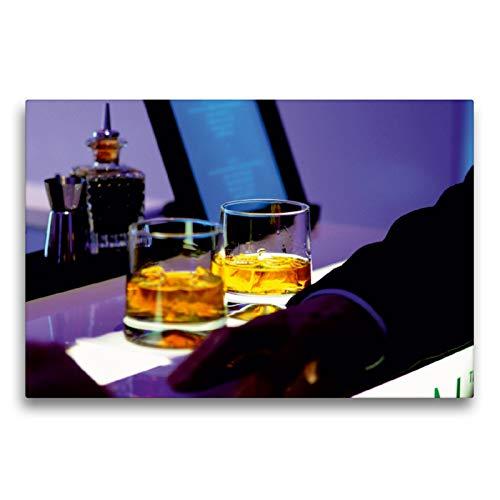 CALVENDO Premium Textil-Leinwand 75 x 50 cm Quer-Format Cool Atmosphere - Whisky Gläser auf Bartheke, Leinwanddruck von Renate Bleicher