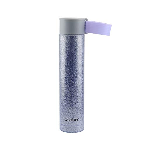 The Asobu Skinny Mini 8oz Fashionable Double Walled Stainless Steel Insulated Pocket Sized Flask (Glitter Blue)