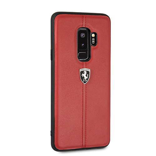 Ferrari Phone Case for Samsung Galaxy S9 Plus Hard Case Genuine Leather Red with Contrasting Red Stitching Finishes Easy Snap-on Shock Absorption Cover Officially Licensed.