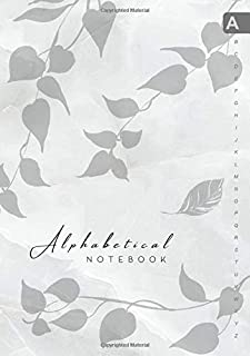Alphabetical Notebook: B5 Lined-Journal Organizer Medium with A-Z Alphabet Tabs Printed   Cute Vine Leaves Design Marble White