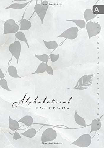 Alphabetical Notebook: B5 Lined-Journal Organizer Medium with A-Z Alphabet Tabs Printed | Cute Vine Leaves Design Marble White