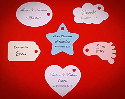 ArtigianeriA - Set di 20 (o più) ETICHETTE personalizzate per BOMBONIERE fai da te. Ideali per Battesimo, Prima Comunione, Cresima, Matrimonio, Laurea, Compleanno, Anniversario.