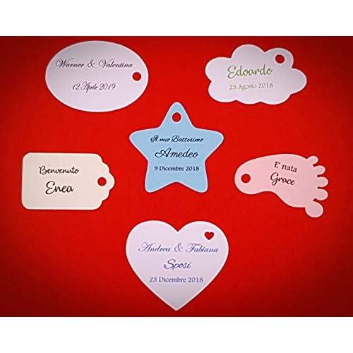 ArtigianeriA - Set di 10 (o più) ETICHETTE personalizzate per BOMBONIERE fai da te. Ideali per Battesimo, Prima Comunione, Cresima, Matrimonio, Laurea, Compleanno, Anniversario.