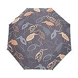 Ave Loro Rosa Abstracta Paraguas Plegable Hombre Automático Abrir y Cerrar Antiviento Protección UV Ligero Compacto Paraguas para Viajes Playa Mujeres Niños Niñas