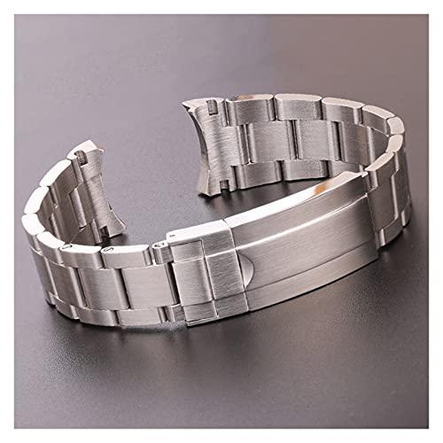 HANLILI kasu 20mm 316l Acero Inoxidable Reloj de Relojes brazaletes Plata cepillada Metal Curvado reemplazo de reemplazo de Enlace de implementación Correa de Reloj