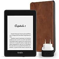 Kit Esencial Kindle Paperwhite, incluye un e-reader Kindle Paperwhite, 8 GB, wifi, con ofertas especiales, una funda Amazon de cuero de alta calidad y un adaptador de corriente Amazon PowerFast