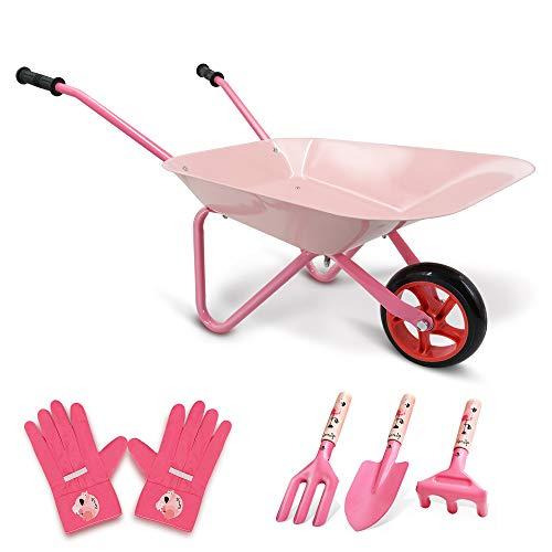 Hortem 5PCS Kinder Schubkarre Set, Metallkonstruktion Kinder Radlauf und Kinder Gartengeräte, Kinder Gartenhandschuh, Geschenke für Kinder (Pink)