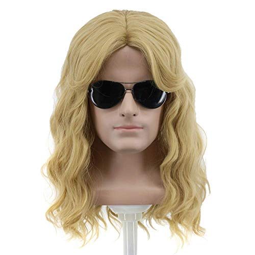 Yuehong Long Blonde Wig Men Party Wig For Cosplay Costume Halloween Hair Wigs