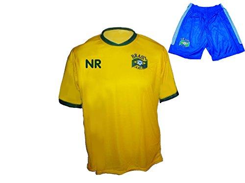 Spielfussballshop Brasilien Trikot Hose mit Wunschname Nummer Kinder Größe 140