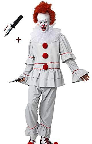 Gojoy Shop-Disfraz y Cuchillo de Broma Retráctil de It Payaso Asesino para Adulto Halloween Carnaval(Contiene Cuchillo, Camiseta,Pantalón y Cuello, Talla Unica)