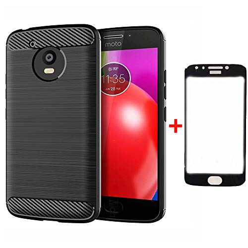 Phone Case for Motorola Moto E4 with Tempered Glass Screen Protector Cover and Cell Accessories Slim Thin Rugged Silicone Protective MotoE4 E 4 4E 4th Generation XT1768 XT1765 Cases Women Men Black