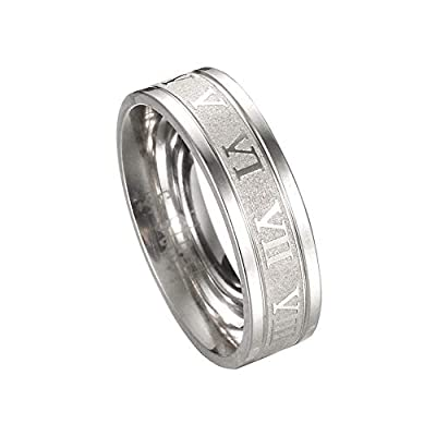 shiYsRL Exquisite Jewelry Ring Love Rings Creative Titanium Steel Finger Ring Roman Numerals Party Punk Jewelry Gift Wedding Band Best Gifts for Love with Valentine's Day - Silver US 7