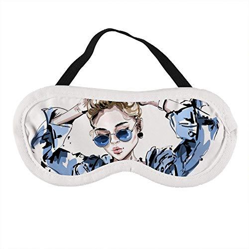 Draagbaar Oogmasker voor Mannen en Vrouwen, Vrouwen in Jeans Jassen en Zonnebrillen Het Beste Slaapmasker voor Reizen, dutje, geven U De Beste Slaap Omgeving