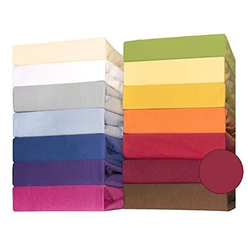 CelinaTex Lucina for Kids Kleinkinder Spannbettlaken Doppelpack 60x120 - 70x140 cm bordeaux rot Baumwolle Spannbetttuch