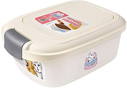 2kg Single Open Deksel opslag Bucket, Hondenvoer Kattenvoer Storage Box, Sealed vers houden Pot met lepel Droog Voedsel Container (Kleur: Beige) Pet kat hondenvoer behoud voeden. (Color : Beige)