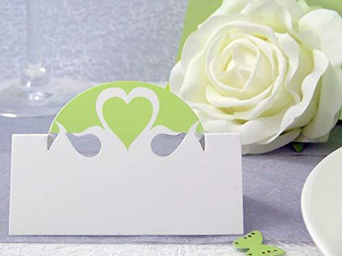 EinsSein 10x Tischkarten Hochzeit Herz Dame hellgrün Hochzeit, Tischkarten, Platzkarten, Namenskarten, Herz Schmetterling Stuhl Rosen Ringe