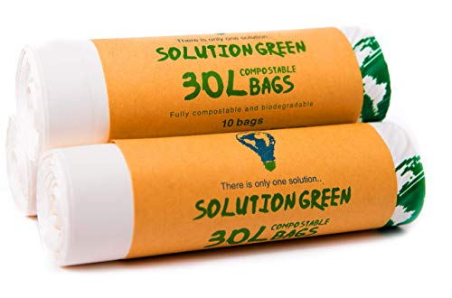 Solution Green 30L Bolsas de Basura Biodegradables y Compostables Para Basura...