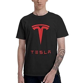 BoruiHengs Yuliana Tesla Inc T-Shirt Men Cotton Tee Black Large