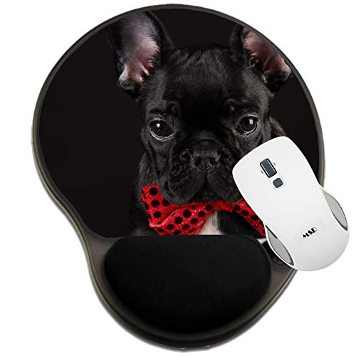 MSD Mousepad Wrist Rest Protected Mouse Pads, Mat with Wrist Support, Image ID: 8085603 French Bulldog Wearing red Bowtie on Black Background