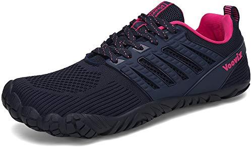 Voovix Herren Barfußschuhe Sportlich Traillaufschuhe Damen Outdoor Wanderschuhe Unisex Wide Toe Minimalistisch rutschfeste Turnschuhe Atmungsaktive Laufschuhe, Blaue Rose-6C 42