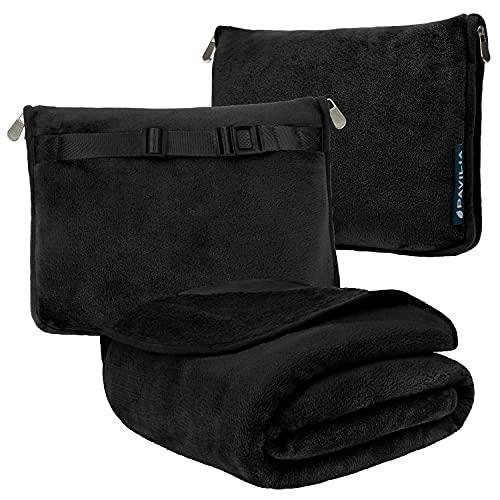 PAVILIA Reisedecke und Kopfkissen | Warm Weich Fleece 2-in-1 Combo Decke für Flugzeug, Camping, Autoreisen | Großes Kompaktes Deckenset mit Gepäckgurt & Rucksack-Clip, 60 x 43 (Solid Black)