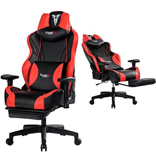 Kasorix Gaming Sessel Gaming Stuhl Bürostuhl mit Verstellbarer Armlehne,Multi-Funktion E-Sports Chefsessel mit Lendenwirbelstütze Gaming Chair (Red-8523)