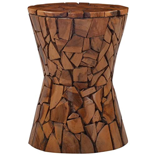 vidaXL Legno Massello di Teak Sgabello Interni Esterni Stile Mosaico Artigianale Seduta Sedia da Cucina Tavolino da Giardino Marrone
