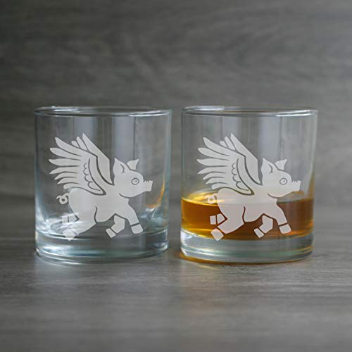 FLYING PIG Lowball Glasses set of 2 - Dishwasher-safe etched whiskey glass