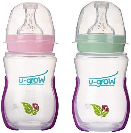 U-Grow Anti Colic Wide Neck Heat Sensitive Baby Feeding Bottle (Pack of 2) (Pink & Green), 240ML)