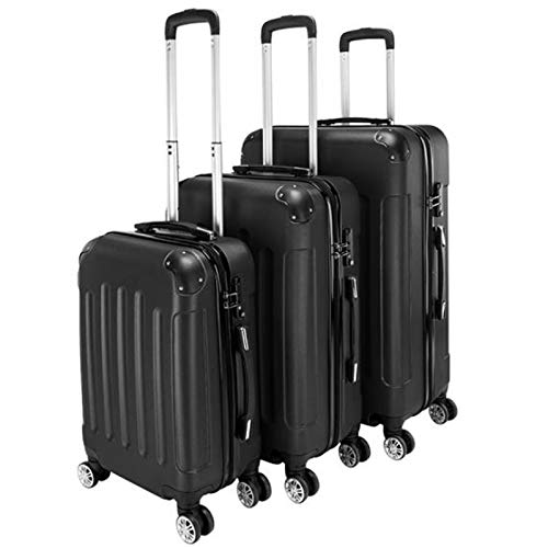 QMKJ 3pcs Portable ABS trolley case Three-in-one hard-shell suitcase 4 universal wheel hand luggage bag 20 inches 24 inches 28 inches black