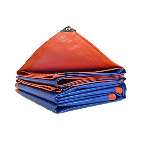 LXX Hochleistungs-Planenabdeckung, Mehrzweck-wasserdichte und wetterfeste robuste Pe-Plane für Überdachungs-Campingzelte im Freien und Wetterschutz - Blau und Orange 5 x 10...