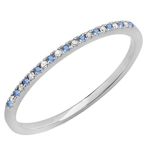 Dazzlingrock Collection Round Blue Sapphire & White Diamond Ladies Dainty Anniversary Wedding Stackable Band, 10K White Gold, Size 7
