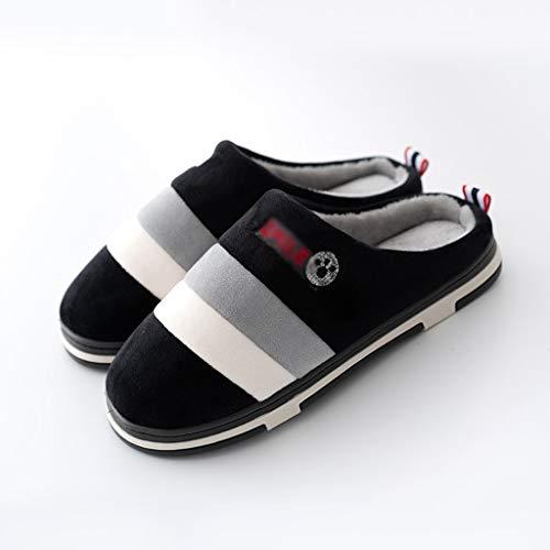 XYZMDJ Zapatillas de Interior Cálido Felpa Antideslizante Toboganes para el hogar Zapatos de Invierno Mujer Hombre Casa Piso Zapatillas de algodón (Size : Gray 40-41)