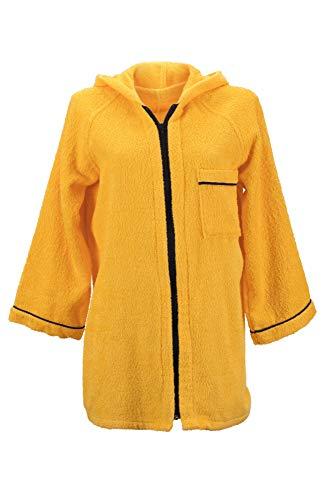 Lady Bella Lingerie Albornoz de mujer con capucha de rizo de algodón puro – Práctico cierre de cremallera – Modelo corto de alta absorción ideal para gimnasio y piscina (amarillo, grande)