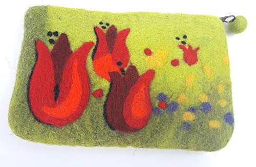 feelz - Filztäschchen Tulpen, Täschchen aus Filz Blumen, kleiner Geldbeutel, Geschenk Mädchen Frau - Fairtrade