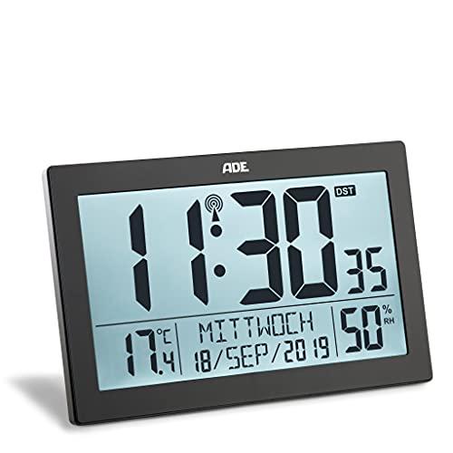ADE Funk-Uhr CK1927 Funk-Wecker große Ziffern LCD-Display mit Beleuchtung, Standuhr Tisch-Uhr und Kalender mit Wochentag, Seniorenuhr, Thermometer Hygrometer, schwarz