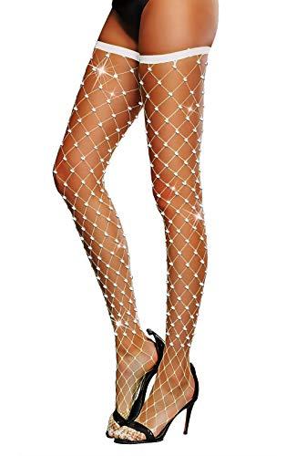 Women's Thigh High Stockings Rhinestone Fishnet Elastic Stockings Big Fish Net Tights Pantyhose (White)