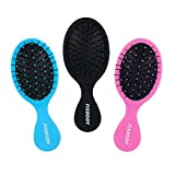 FIXBODY Mini Pocket Detangling Hair Brush, 3 Pack Soft Ball Tipped Nylon Pin Handheld Massage Paddle Hair Comb for Adults & Kids All Hair Types