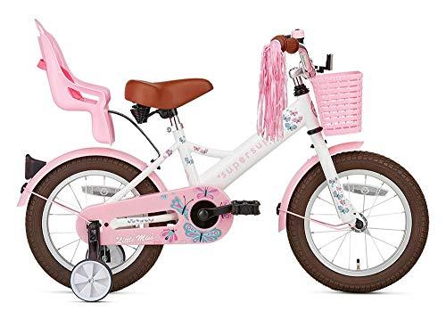 POPAL SuperSuper Little Miss Kinder Fahrrad für Kinder | Fahrrad Mädchen 14 Zoll ab 3-5 Jahre| Kinderrad met Stützrädern | Rad mit Korb und Puppensitz |Weiß
