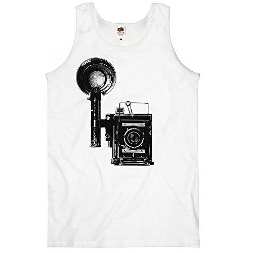 TEE-Shirt Té de Camiseta, Tanque de Men Top Vintage CAM Weiß 48/50