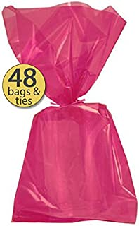 Set of 48 - Hot Pink Cellophane Party Favor Bags with Hot Pink Twist Ties - Treat Goody Bags - Treat Sacks - Bulk Value Pack