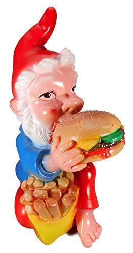 GOM Gartenzwerg Hamburger Pommes 33 x 20 cm Zwerg Garten bruchfest PVC Deko 6077