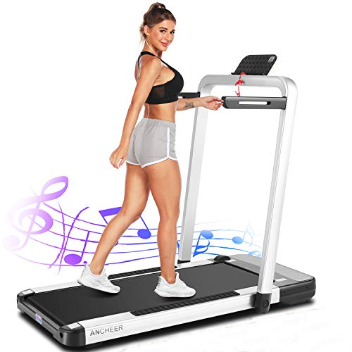 ANCHEER 2in1 Folding Treadmill,2.25HP APP Control Under Desk Treadmills with LCD Touch Monitor and Watch Remote Controller, Indoor Walking Jogging Running Exercise Machine for Home Gym (Silver)