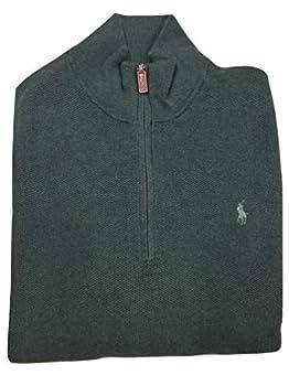 Polo Ralph Lauren Mens Quarter-Zip Textured Mock Sweater  Green Medium