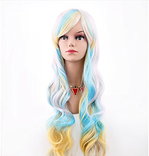Filles Femme Long 80 cm Wave bouclés Fancy Multi Couleur Impressionnante Cheveux des Perruques pour les fêtes pour Halloween